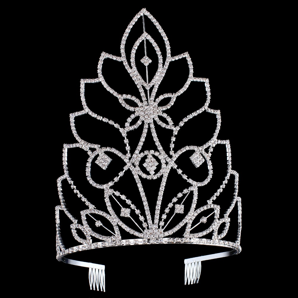 Big European Bride Wedding Tiara Crowns Silver Plated Austrian Crystal Large Queen tiara Wedding Hair Accessories With Comb