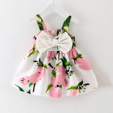 New Summer Baby Dress Lemon Printed Infant Baby Girl Slip Dresses Bow Cute Princess Dress for 1 Year Birthday Party