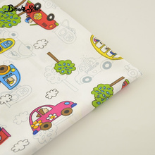 100% Cotton Fabric Home Textile Lovely Car Cartoon Designs Patchwork Quilting Sewing Craft Bedding Decoration Baby Kid Tissue