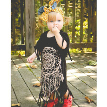 2016 new spring summer style children's clothing personality style casual baby black wild fringed dress 2-5Y free shipping