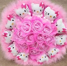 Popular Cute lovely Hello Kitty Soap Roses Cartoon Bouquet Gift Flowers For Valentine's Day / Birthday /Graduation Gift(China)