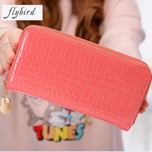 FLYBIRD Women PU Leather Clutch Wallet Long Large Capacity Patent Leather Clutch Bag For Women Fashion Women Cheap Purse