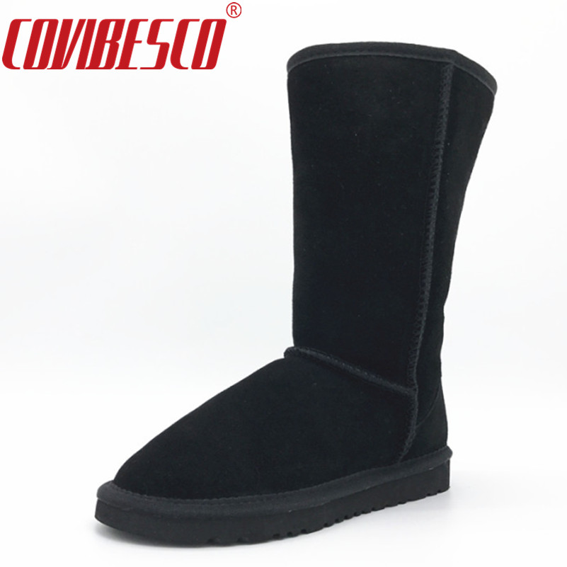 COVIBESCO Women Fashion Australia Classic Genuine Leather High Snow Boots Warm Winter Flats Boots Ladie Leather Long Shoes<br>
