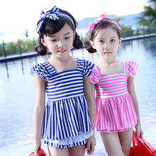 kids swimsuit 2016 cute arrival  pink/blue three pieces with hair band shirt for children swimming wear bathing high quality