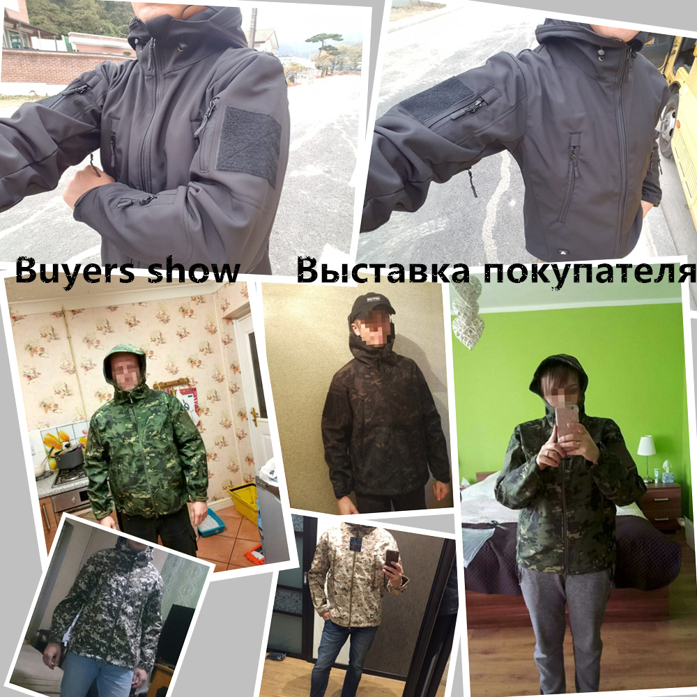 Mege Shark Skin Soft Shell Military Tactical Jacket Men Waterproof Army Fleece Clothing Multicam Camouflage Windbreakers 4XL 1