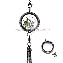 New Arrival Large Graphite Tone Linkable Locket With Crystal! 316 Stainless Steel Floating Charms Locket(China)