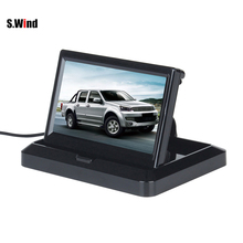 5 Inch TFT LCD Rearview Car Monitors for DVD GPS VCR Reverse Backup Camera Folable Car Monitor