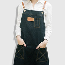 Long Black Blue Denim Apron w/ Leather Strap Barber Tattoo Artist Hairdresser Florist Work Wear Barista Catering Uniform K30(China)