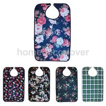 Reusable Waterproof Adult Elder Mealtime Bib Clothing Spill Protector Disability Aid Apron - Grid Lips Floral Flowers Print(China)