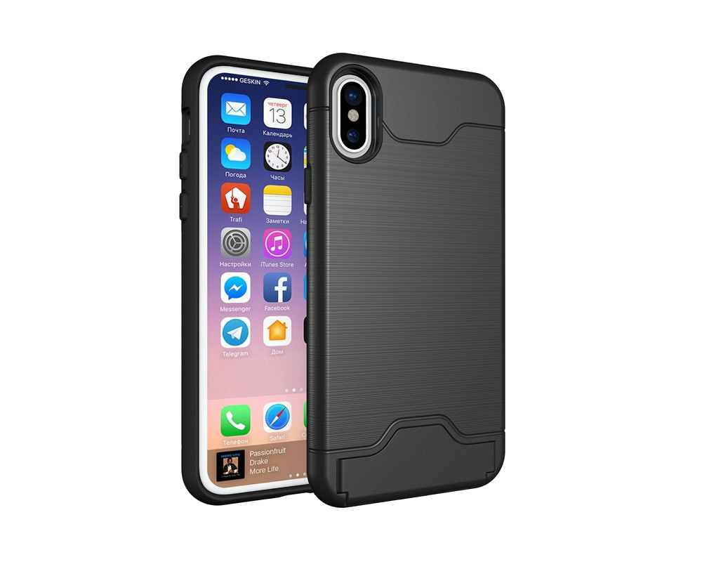 KEYSION Case For iphone X Shockproof cover for iPhone X Kickstand Armor Phone Bag Cases For iphone 10 Card Holder Coque 3