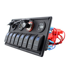 1PC 8 Gang Waterproof Marine Blue Led Switch Panel With Power Socket Voltmeter -25degree to 80degree AC 1500V 1minute Blue light