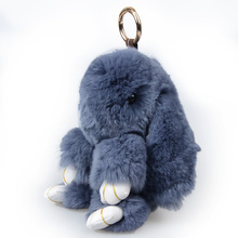 Chanfar 18CM Cute Genuine Rex Rabbit Keychain Fur Doll Pendant Metal Key Ring Car Charm Women Hand Bag Keychain Jewelry