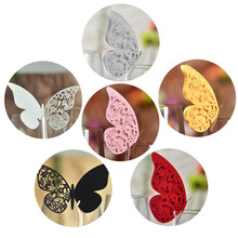 50pcs Butterfly Place Escort Wine Glass Cup Paper Card Wedding Party Home Decoration White Silver Pink Gold Red Black Name Cards(China)