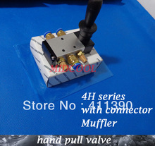 "2 positions 5 way pneumatic control valve Hand Lever Valve 4H310-08 manual pull valve thread 1/4"" With 3 Connector 2 Muffler(China)"