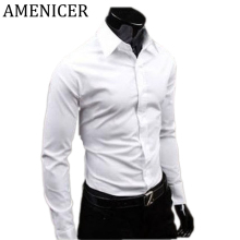 Brand Men Casual Shirts Slim Fit Factory Clothing Dress Man White Fashion Shirt Social Long Male Checker Blouse Brand Clothing
