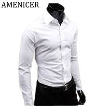 Men Casual Long Sleeve Social Shirts White Man Dress Slim Regular Fit Checkered Shirt Military Checker For Weight Loss Blouses(China)