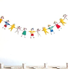 2.5m Cartoon Characters Dogs Cats Bunting String Flags/Garland Space Decoration Wedding Festival Home Birthday Boy Girl Showers