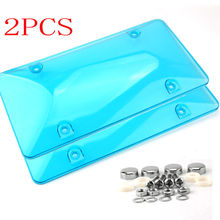 2x License Plate Cover Frame BUG Shield Protector with Screw Bolt Caps For US Car