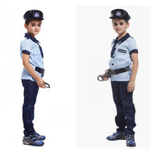 Children's Halloween Costumes Fantasia Disfraces Boys police Costumes Kids policeman Cosplay game uniforms
