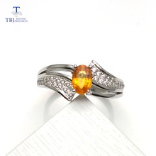 TBJ, Natural yellow Sapphire oval cut 4*6mm 0.5ct gemstone Ring ,classic design and good making Ring in 925 sterling silver(China)