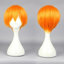 28cm Short Orange Cosplay Hair Japanese Short Hairstyle Love Live Rin Hoshizora Orange Cosplay Headwear Accessories(China)