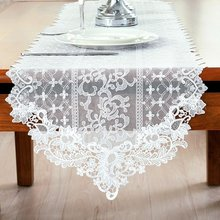 Hot Sale!!! Embroidery Flower Lace Table Runner Vintage Country Rustic Table Runners Home Party Wedding Decoration