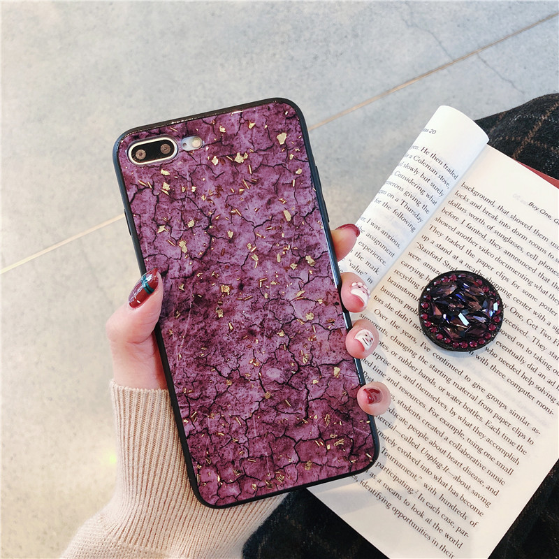 Green emerald marble pattern diamond extension bracket shiny silicone cover case for iphone MAX XS XR 6 S 7 8 plus X phone cases (9)