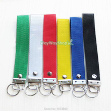 "6 PCS 1"" 25mm Key Fob Hardware wrist Wristlets for keychain Split ring Strap Lanyard Black Blue Yellow Red White Green Choice(China)"