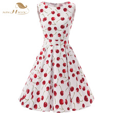 SISHION 50s 60s Retro Vintage Dress Plus Size Swing Rockabilly Casual Cherry Pattern Floral Print Women Summer Dress VD0136