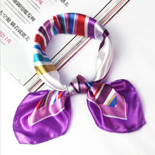 Fashion 18Styles Square Women Girl Elegant Flight Attendants Hotel Waiter Business Imitate Silk Scarf printing Korean style Gift(China)