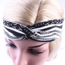 1pcs Women Boho Style Headwrap Black and White Cotton Turban For Hair accessories Bow Sports Absorb sweat headband Yoga hairband