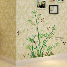 2017 new little bamboo wall stickers china style plants wallpaper home living room saloon restaurant decor tree removal decals