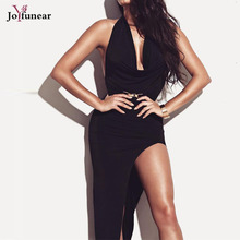 Women Sexy Club Party Wear Summer Style Bodycon Dresses 2017  Black Color  Cut Out Sleeveless Fold Deep V Neck Split  Maxi Dress