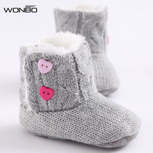 New Winter Super Warm Newborn Girl Baby Prewalker Keep Warm Shoes Boots Infant Toddler Princess Bebe Crib Snow Knitting Booty(China)