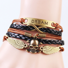 12 pcs/lot Multi-Strands Infinity Black Color Heart Charm Leather Braid Bracelet Bangle Jewelry Dream Skull Charms wholesale(China)