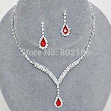 Celebrity Inspired Crystal Tennis Red 2017 Necklace Set Earrings Factory Price Wedding Bridal Bridesmaid Jewelry Sets 14F2AF049(China)