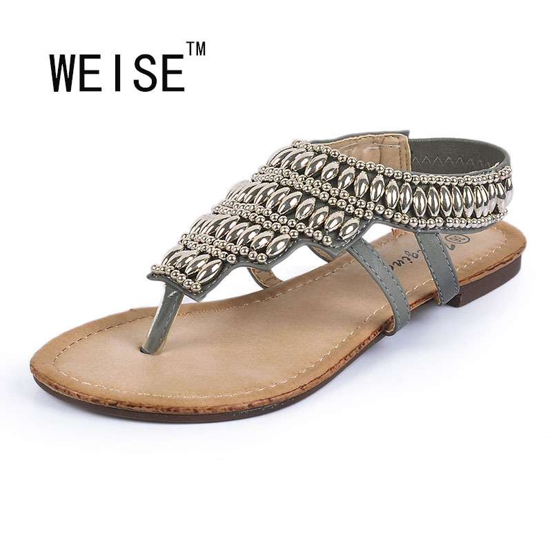 WEISE Free shipping 2017 The new Rome style fashion Beaded metal spring summer sandals women shoes<br><br>Aliexpress