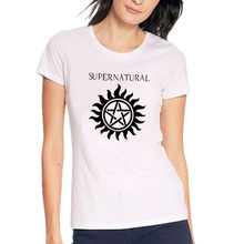 Supernatural Logo T Shirt Women Harajuku Casual Woman Tshirt Tops Black And White Punk Printed Tee Shirt Femme