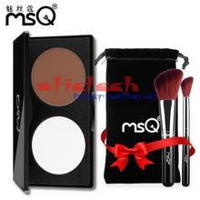 by ems or dhl 50pcs 2 Color Face Shading Powder Highlighter Palette Set Powder Makeup Face Contour Grooming Pressed Powder(China)