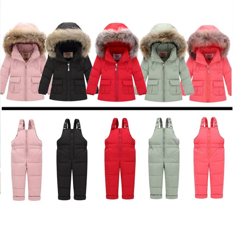 Russian Winter Snowsuits 2017 Baby Boy Winter Children Girls Duck Down Coats Overalls Clothing Set Jacket, Childrens ClothingÎäåæäà è àêñåññóàðû<br><br>