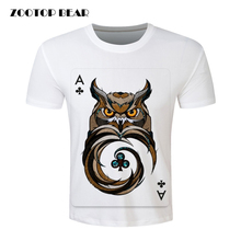 Owl Poker Printed T-shirt 2016 Men's Fashion Short Sleeve  Funny Tee Shirts Hipster O-neck Cool Tops Man Clothing ZOOTOP BEAR