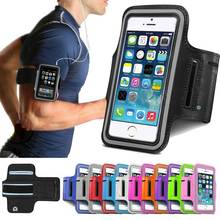 Fashion Outdoor Mobile Phone Bags Running Case Cover  For iPhone 5 5S 5G SE Leather Case Waterproof Gym Sport Belt Wrist Strap