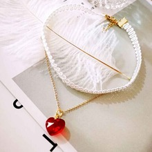 Harajuku Style Cute Red Heart Glass Pendent Double Layers Short Chokers Necklace Fashion Jewelry