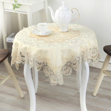 [WIT]85x85cm European Table cloth Square Transparent Pastoral Embroidered Lace Table Cloth High-grade All-purpose Lace Cover 1pc