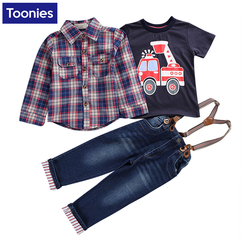 Kids Clothes Boys Clothing Set 3pcs Cotton Vest + Plaid Shirts+ Jeans Pants Toddler Boys Clothing Children Suits Infant Clothes<br><br>Aliexpress