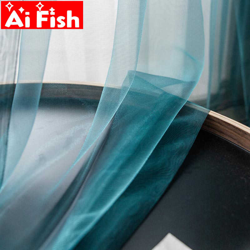 Modern minimalist peacock blue sheer curtains for living room organza tulle yarn panel window treatment kitchen curtain MY101#40