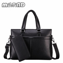 2017 MIWIND Handbag Fashion Simple Dot Famous Brand Business Men Briefcase Bag Leather Laptop Bag Casual Man Bag Shoulder Bags(China)