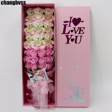 21pcs/Box 9pcs Kawaii Plush Bear Toys 12pcs Rose Soap Flower Romantic Cartoon Toys Bouquet for Valentine'S Day Girlfriend Gifts(China)