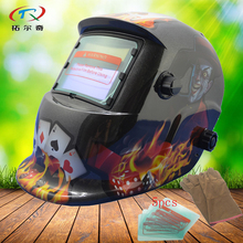 black Welding Helmet Auto Darkening solar and battery welding mask for sale machine factory price manufacture tig HD25(2200DE)(China)