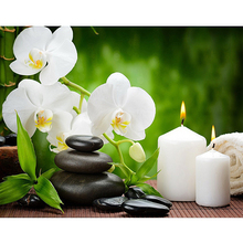 "5D DIY Diamond Painting Cross Stitch  ""Orchid Candles Stones"" Diamond Embroidery Rhinestone Mosaic pattern Painting Gift"